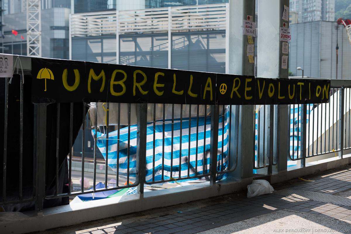 Растяжка с агитацией революции зонтиков