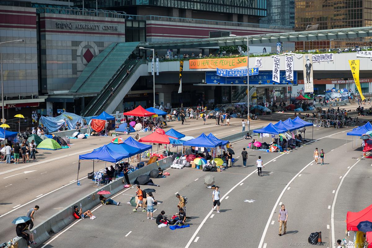Гонконг революция зонтиков вид на протестующих сверху