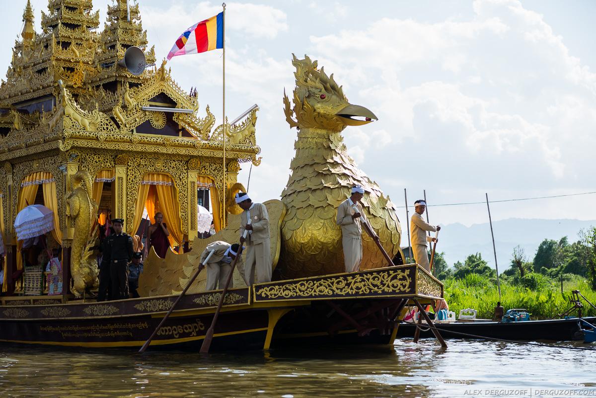 Праздничная лодка Мьянма озеро Инле