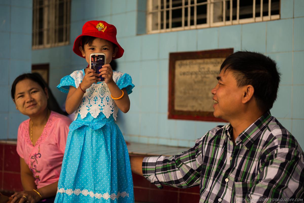 Семья бирманцев девочка с сотовым телефоном