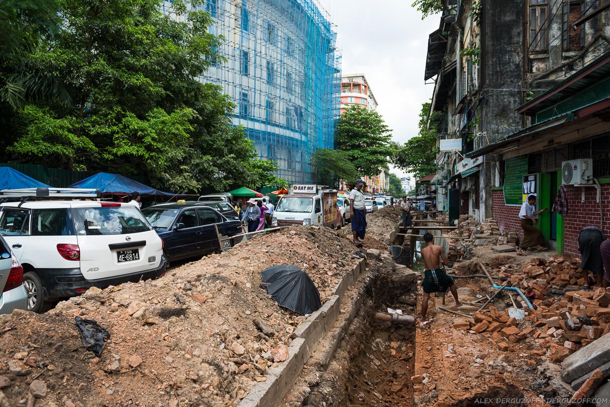 Дорожные работы Мьянма Янгон