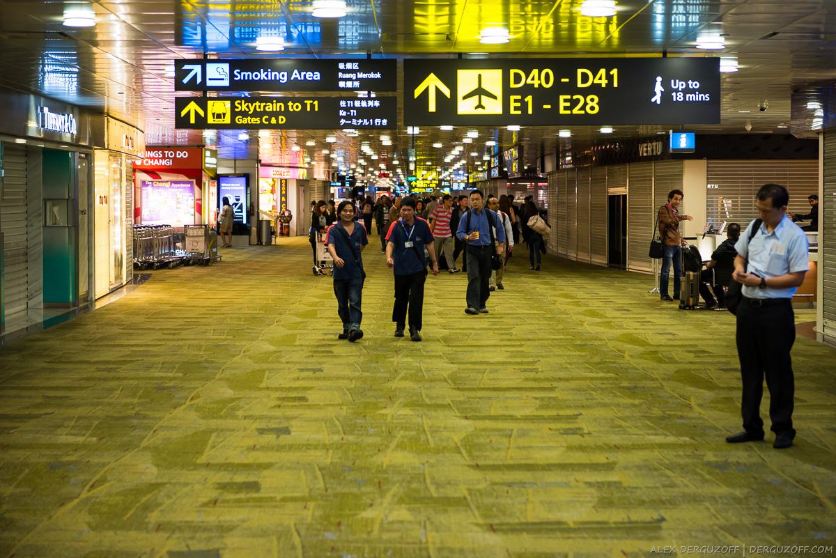 Прибывающие пассажиры ночью Чанги