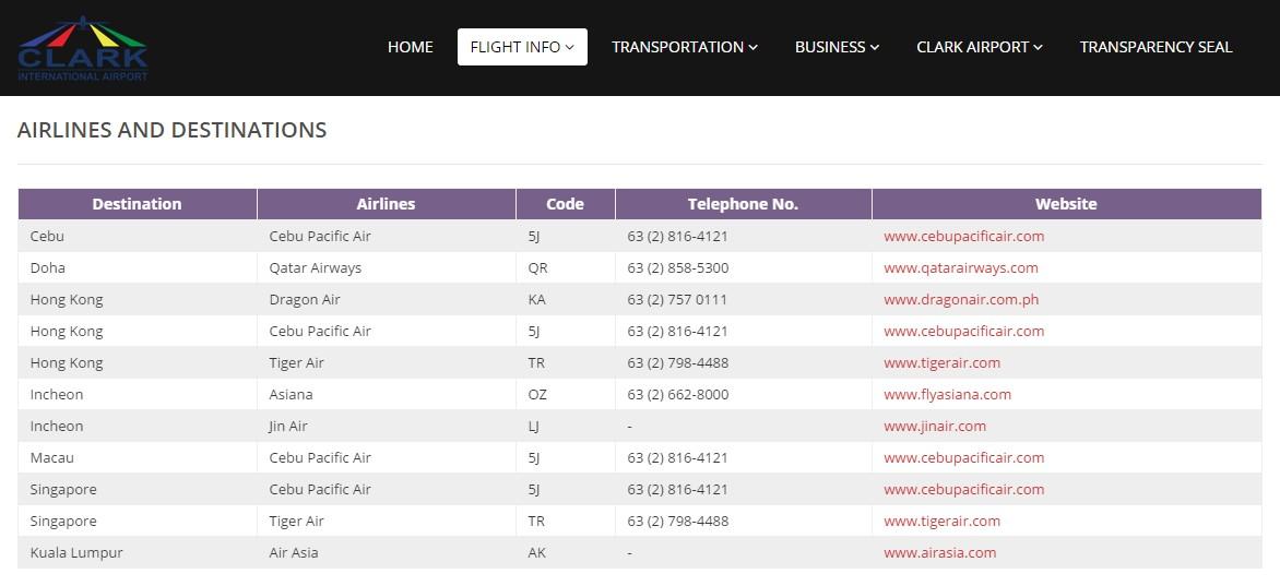 Список авиакомпаний летающих из аэропорта Кларк дешевые авиабилеты