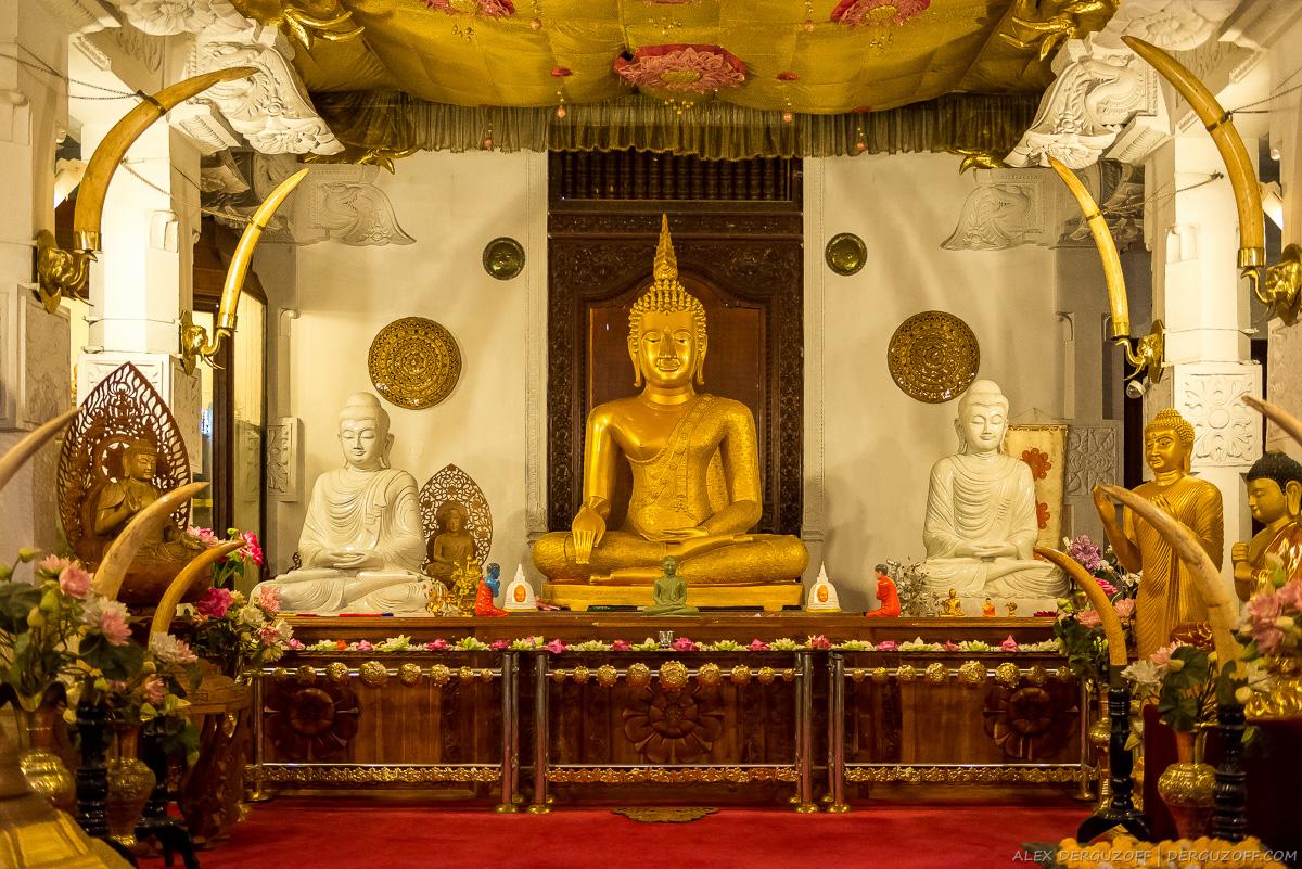 Буддийские статуи внутри храма