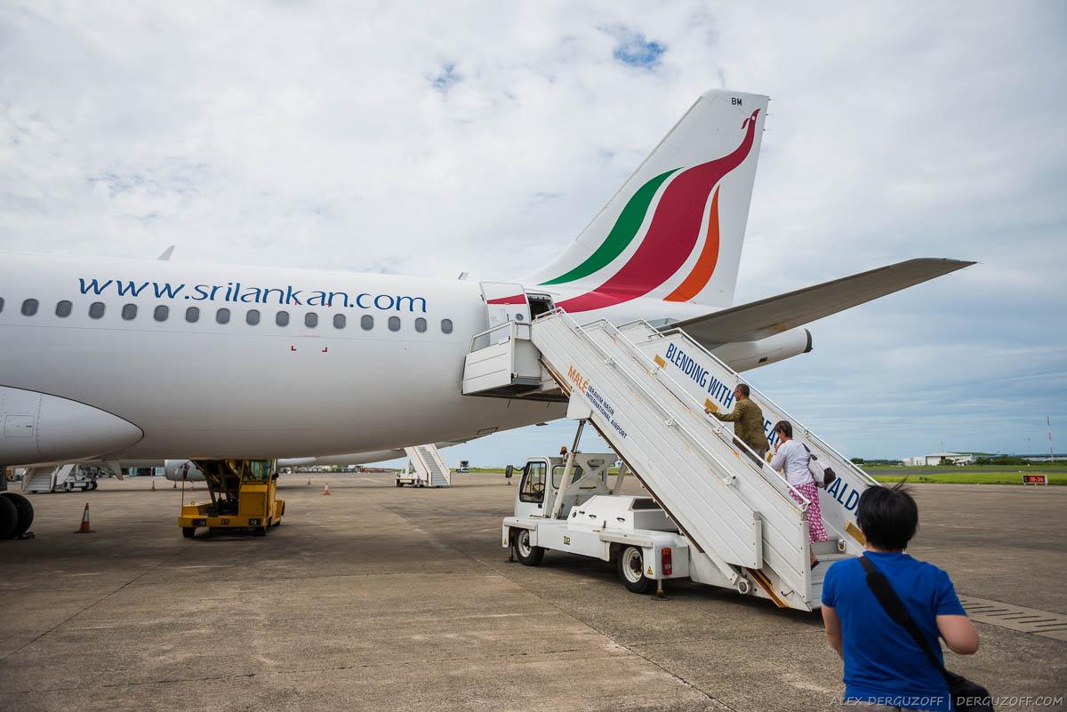 Посадка пассажиров в самолет SriLankan Airlines